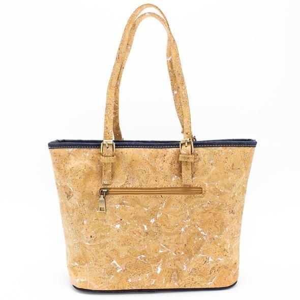 Kork Handtasche mit dunkelblauer Quaste
