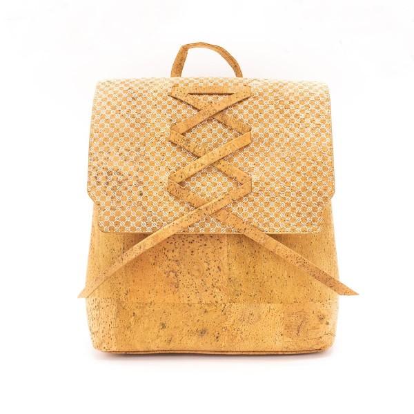 Kork Rucksack mit weißem Muster